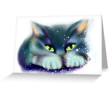 Cat playing with snow Greeting Card