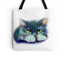 Cat playing with snow Tote Bag