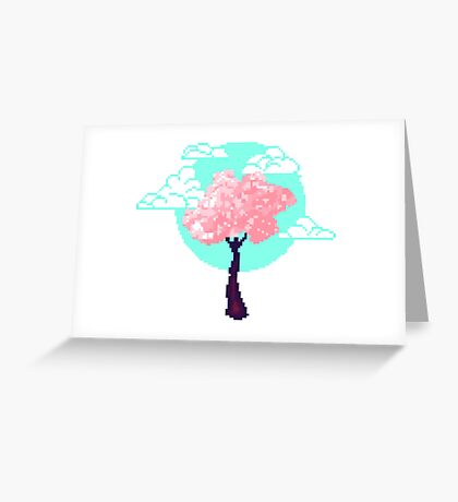Cherry Blossom Pixel Greeting Card