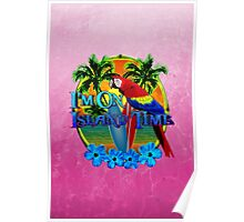 Island Time Surfing Pink Poster