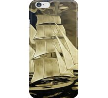 A digital painting, as an old style print, of a True Brigantine iPhone Case/Skin