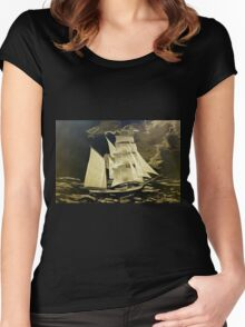 A digital painting, as an old style print, of a True Brigantine Women's Fitted Scoop T-Shirt