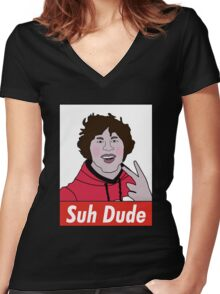 suh dude shirt  Women's Fitted V-Neck T-Shirt
