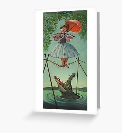 Haunted mansion umbrela Greeting Card