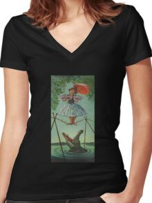 Haunted mansion umbrela Women's Fitted V-Neck T-Shirt