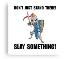 Knight Slay Something Cartoon Canvas Print