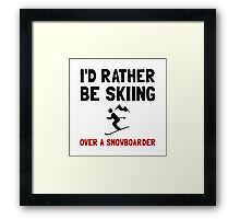 Skiing Over Snowboarder Framed Print