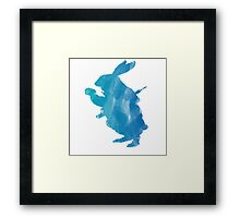 White Rabbit from Alice's Adventures in Wonderland in Blue Watercolor Framed Print