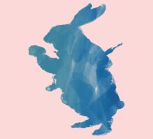 White Rabbit from Alice's Adventures in Wonderland in Blue Watercolor Baby Tee