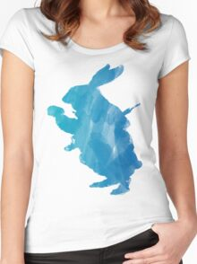 White Rabbit from Alice's Adventures in Wonderland in Blue Watercolor Women's Fitted Scoop T-Shirt