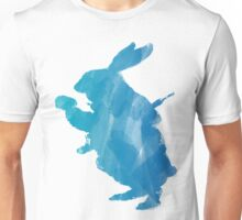 White Rabbit from Alice's Adventures in Wonderland in Blue Watercolor Unisex T-Shirt