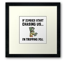 Zombies Chase Us Tripping Framed Print
