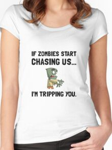 Zombies Chase Us Tripping Women's Fitted Scoop T-Shirt