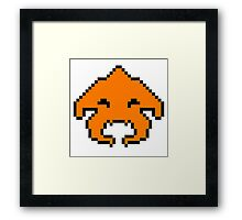 Pixel Invader : Orange Framed Print