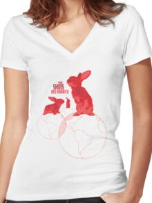 The Shins Red Rabbits Women's Fitted V-Neck T-Shirt