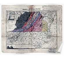 145 Geological map of Virginia West Virginia showing their chief geological sub-divisions Poster