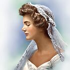Colorized Vintage Portrait of Jacqueline Kennedy in 1953 by lexmil