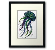 Blue, Purple, Green Jellyfish mandala. Framed Print