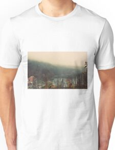 Foggy day over lake forest color photo Unisex T-Shirt