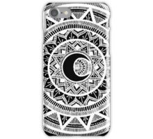 White on Black moon mandala iPhone Case/Skin