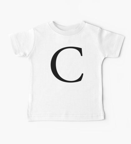 C, Alphabet, Letter, Cee, Charlie, Chicago, Caitlin, A to Z, 3rd Letter of Alphabet, Initial, Name, Letters, Tag, Nick Name Baby Tee