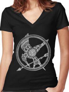 White on Black Hunger Games Mandala Women's Fitted V-Neck T-Shirt