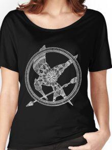 White on Black Hunger Games Mandala Women's Relaxed Fit T-Shirt