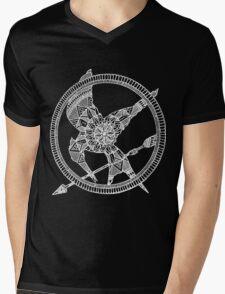 White on Black Hunger Games Mandala Mens V-Neck T-Shirt