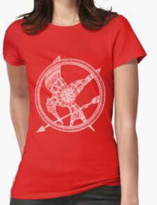 White on Black Hunger Games Mandala Womens Fitted T-Shirt