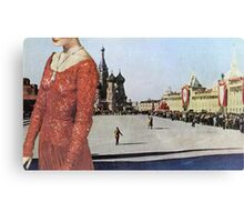 Lady in Red Square Canvas Print