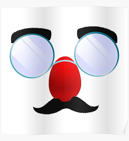 Funny Glasses with a red nose. Poster