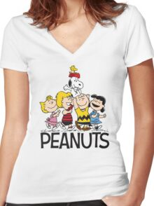 Snoopy Peanuts Women's Fitted V-Neck T-Shirt