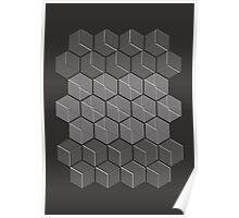 Hexagonal Cubic Pattern Poster
