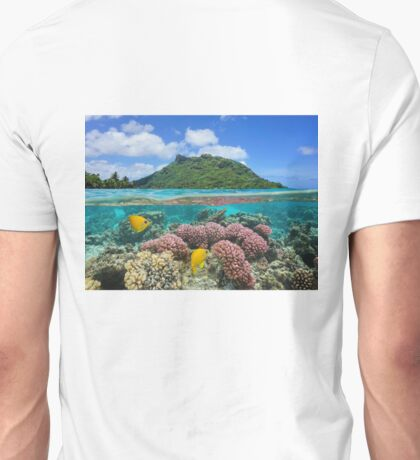 Island coral and fish underwater French Polynesia Unisex T-Shirt