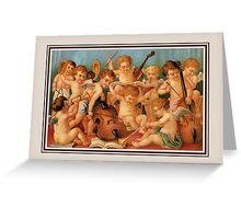 Orchestra of angels (cupids), Victorian chromo art Greeting Card