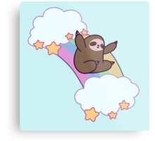 Rainbow Cloud Sloth Metal Print