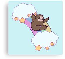 Rainbow Cloud Sloth Canvas Print