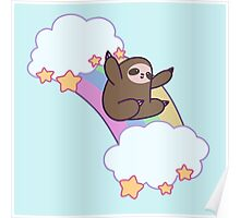 Rainbow Cloud Sloth Poster