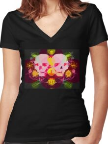SKULLY SHIRT WITH FLOWERS Women's Fitted V-Neck T-Shirt
