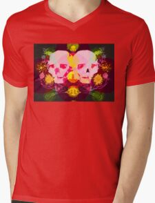 SKULLY SHIRT WITH FLOWERS Mens V-Neck T-Shirt