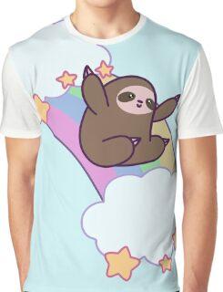 Rainbow Cloud Sloth Graphic T-Shirt