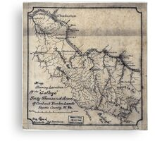 208 Map showing location of the Gallego forty thousand acres of coal and timber lands Fayette County W Va Canvas Print