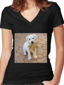 Patriotic Puppy Women's Fitted V-Neck T-Shirt