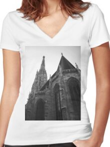 Austria - Vienna Saint Stephens Cathedral  Women's Fitted V-Neck T-Shirt