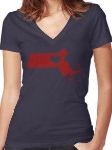I Left My Heart in Massachusetts - Red Women's Fitted V-Neck T-Shirt