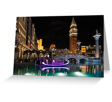 Lighting Up the Night in Neon - Colorful Canals and Gondolas at the Venetian Las Vegas Greeting Card