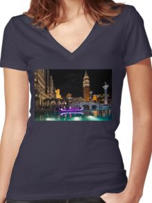Lighting Up the Night in Neon - Colorful Canals and Gondolas at the Venetian Las Vegas Women's Fitted V-Neck T-Shirt