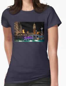 Lighting Up the Night in Neon - Colorful Canals and Gondolas at the Venetian Las Vegas Womens Fitted T-Shirt