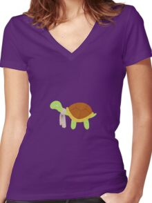 Cute baby turtle Women's Fitted V-Neck T-Shirt