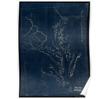 057  Outline map of eastern Virginia and the Chesapeake Bay region Inverted Poster